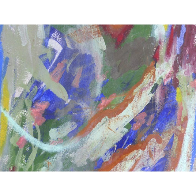 Wood Large Framed Abstract Diptych Signed Acrylic Painting on Paper Dated 2014 For Sale - Image 7 of 13