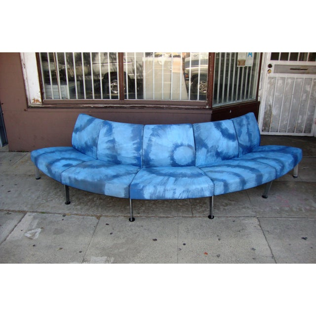 Mid Century Modern semi round sofa. upholstery were velvet but the last owner painted it in actually color.