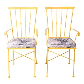 Vintage Mid-Century Yellow Patio Chairs- a Pair For Sale