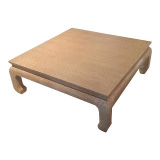 Baker Furniture Grasscloth Linen Wrapped Coffee Table