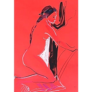Nude #1595 Gouache on Red Paper Original Painting by Gretchen Kelly For Sale