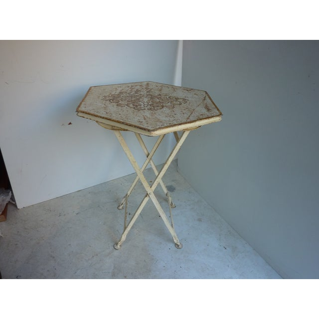 Early 20th Century painted folding hexagonal table, sturdy, rustic condition.