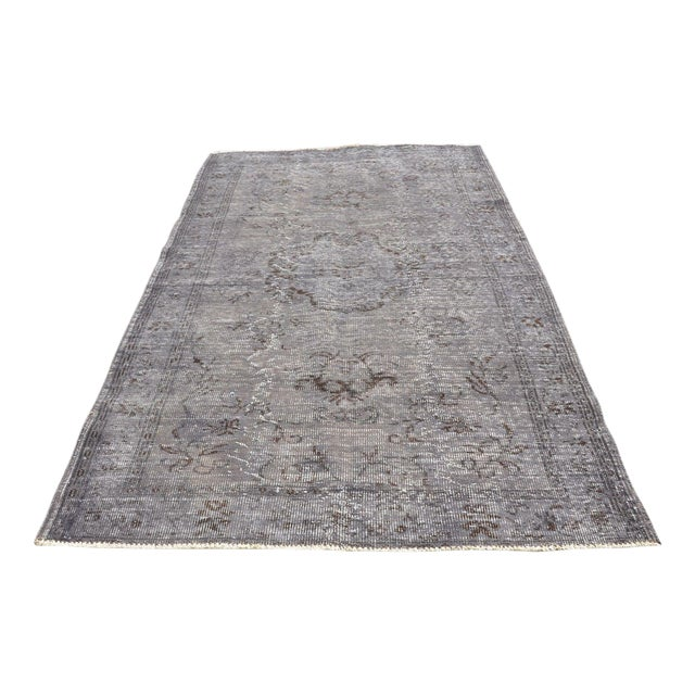 Vintage Overdyed Gray Rug - 5′1″ × 7′7″ For Sale