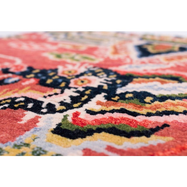 Asian Salmon Pink, Red, Green, and Blue Wool Tibetan Dragon Area Rug For Sale - Image 3 of 8
