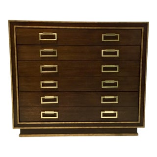 Currey and Company Modern Walnut Finished Wood and Brass Metal Benedict Map Chest of Drawers For Sale