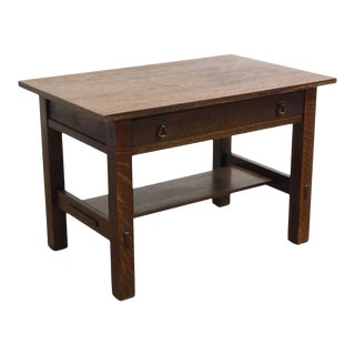Life Time Antique Mission Oak Library Table For Sale