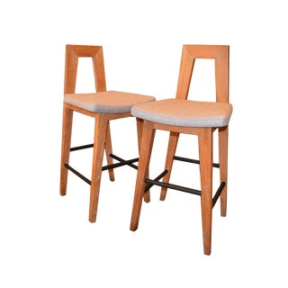 Pair of American White Oak and Fabric Mid-Century Modern Counter Height Stools For Sale