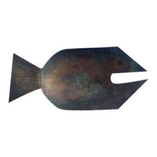 Oswado Guayasamin Modernist Metal Fish Tray For Sale