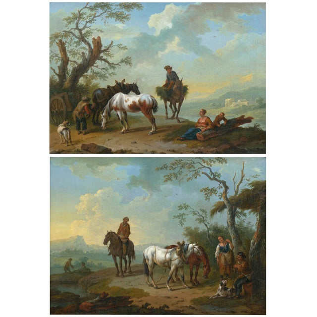 18th Century Antique Landscape Paintings Attr. To Pieter Van Bloemen - a Pair For Sale - Image 13 of 13