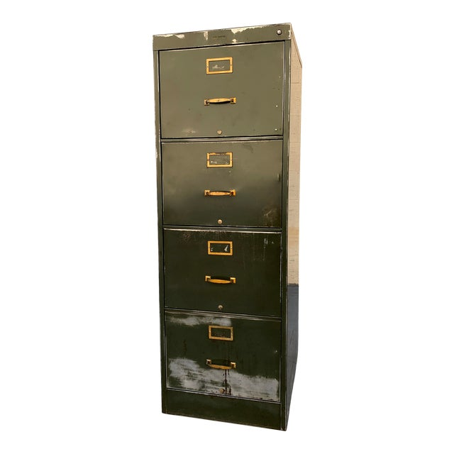 1940s Large File Cabinet With Brass Hardware by Steel Furniture Mfg. Co. For Sale