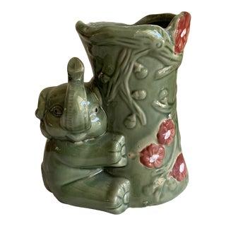 Vintage Ceramic Elephant Vase or Planter For Sale