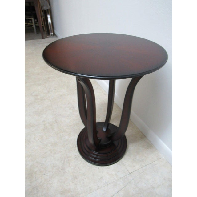 Mid-Century Modern Bombay Company Cherry Bird Cage End Table For Sale - Image 3 of 11