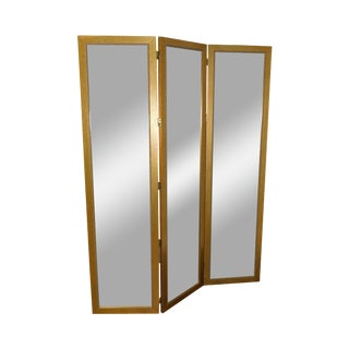 Carolina Mirror Company Gold Frame 3 Panel, Beveled Mirror Folding Screen For Sale