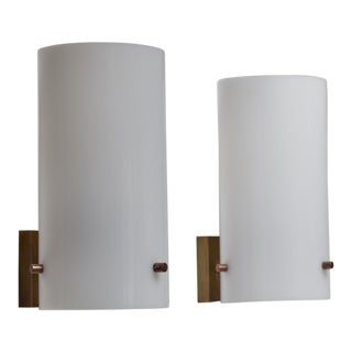 Pair Italian Brass and Plexiglass Wall Sconces, 1960s For Sale