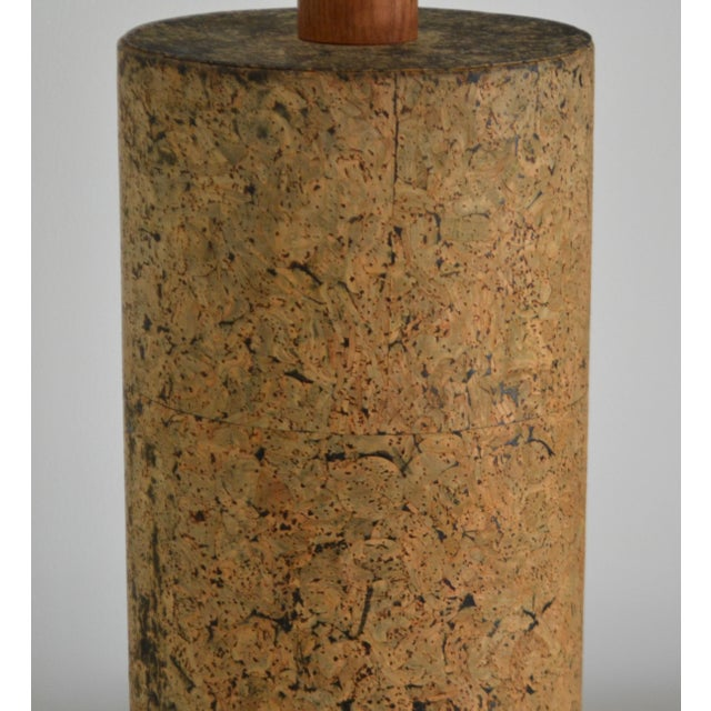 Brown Mid-Century Cylindrical Form Cork Table Lamp For Sale - Image 8 of 11