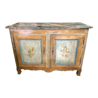 Antique Italian 18th C Tuscan Paint Decorated Sideboard Buffet 2 Door Cabinet For Sale