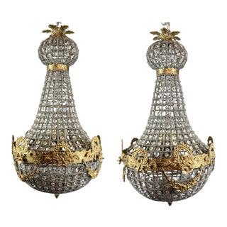XL French Floral Gold Detail Louis XVI/Renaissance Style Chandelier a Pair For Sale