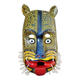 """Huge 42"""" Tall Mexican Hand Carved and Painted Wooden Jaguar Mask For Sale"""