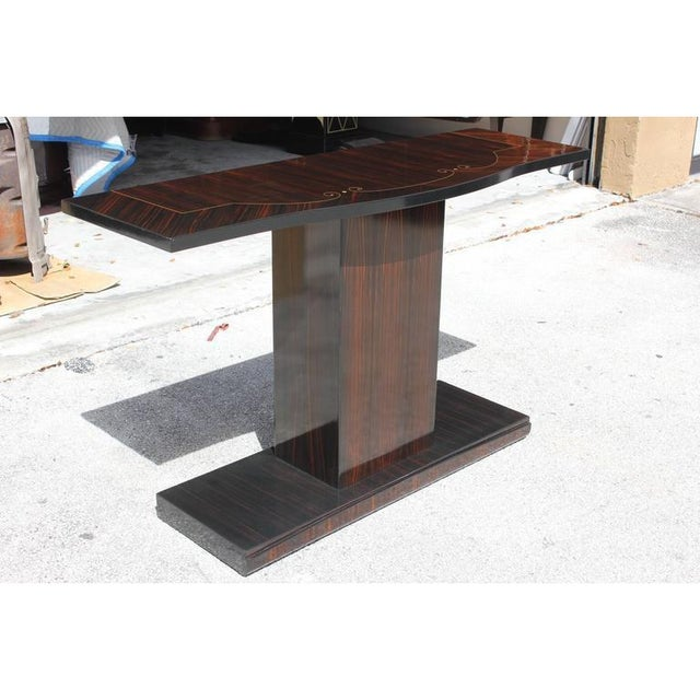 Art Deco 1940s Vintage Art Deco Macassar French Ebony Console Table For Sale - Image 3 of 12