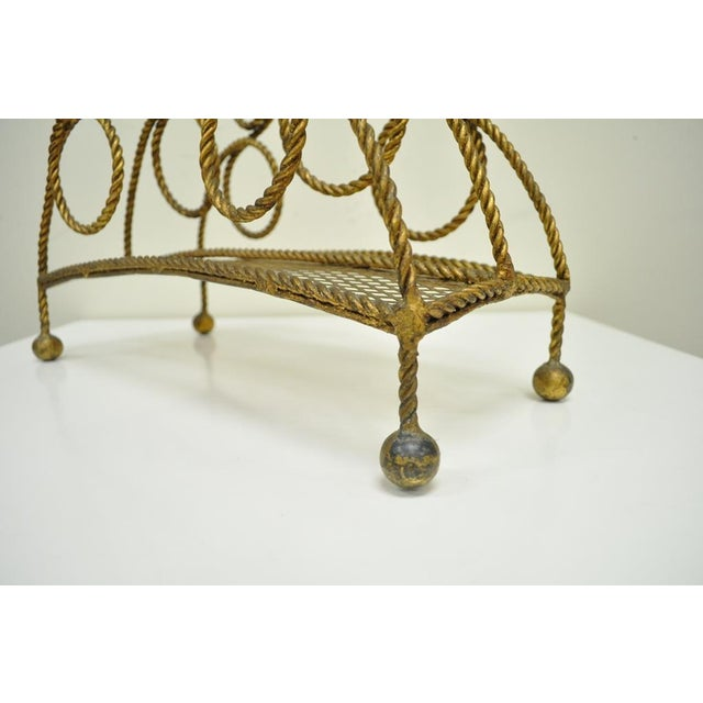 Metal Vintage Italian Hollywood Regency Gold Gilt Iron Rope Tole Magazine Holder For Sale - Image 7 of 11
