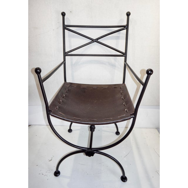 1960s Vintage Italian Iron and Leather Curule Chairs - A Pair For Sale In West Palm - Image 6 of 10