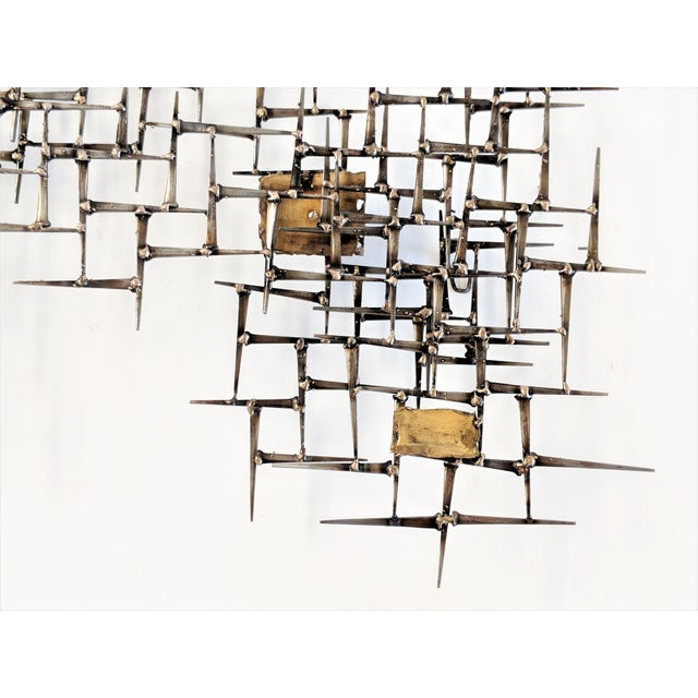 Bronze Brass Brutalist Nail Wall Sculpture For Sale - Image 10 of 12