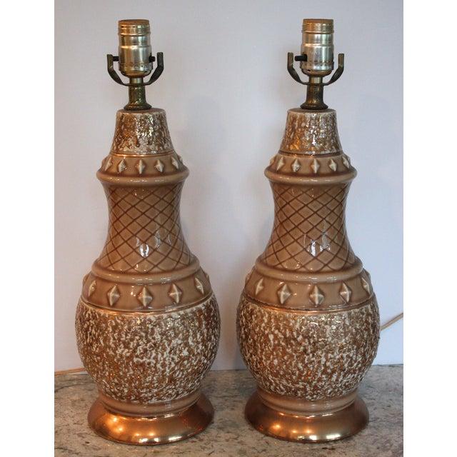 Mid-Century Tan & Gold Boudoir Lamps - A Pair - Image 2 of 4