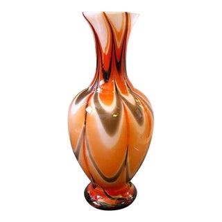 1970s Italian Mid-Century Modern Red Orange and White Opaline Vase For Sale
