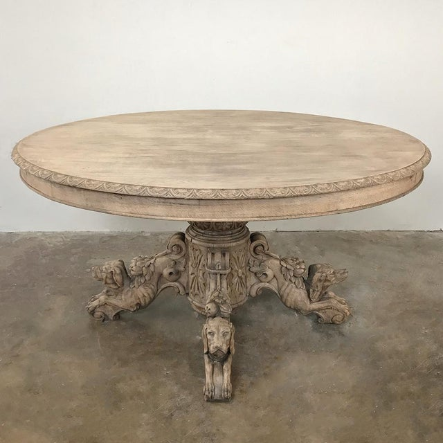 19th Century French Renaissance Stripped Oak Center Table With Hunting Dogs For Sale - Image 13 of 13