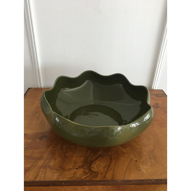 Olive green ruffled studio pottery catchall. This is the perfect shade of olive green. Great for catching all your items....