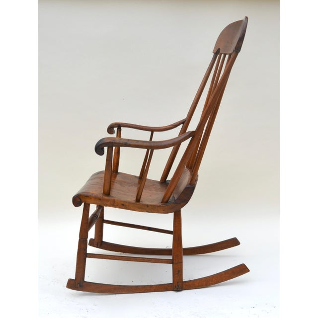 Antique Primitive Boston Rocking Chair C.1840s For Sale In Los Angeles - Image 6 of 11