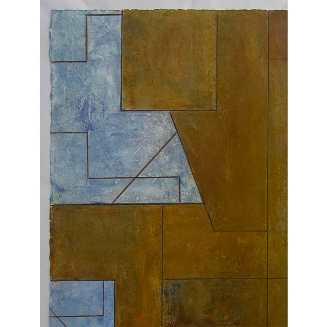 Abstract Ancient Modern Series Abstract Geometric Oil Painting on Paper Unframed For Sale - Image 3 of 4
