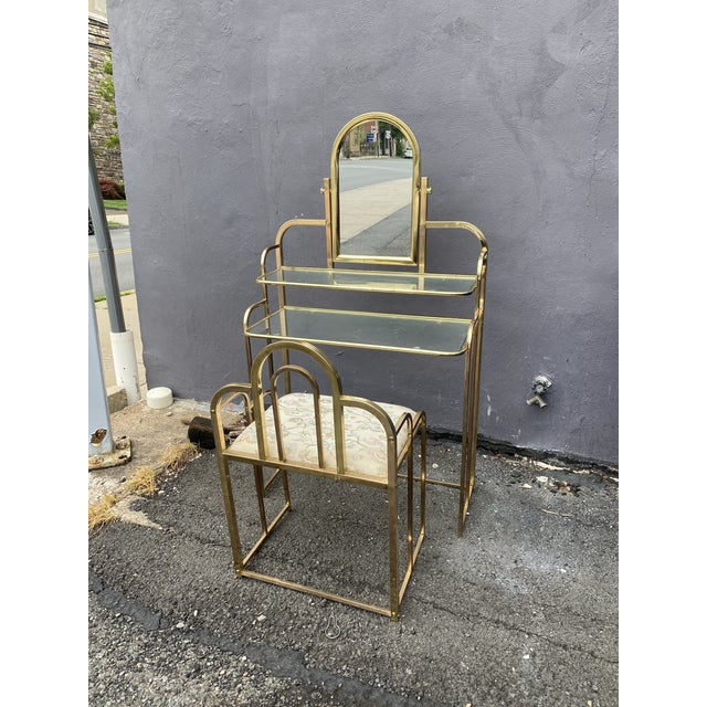 Mid Century Brass Vanity Table and Chair For Sale - Image 13 of 13