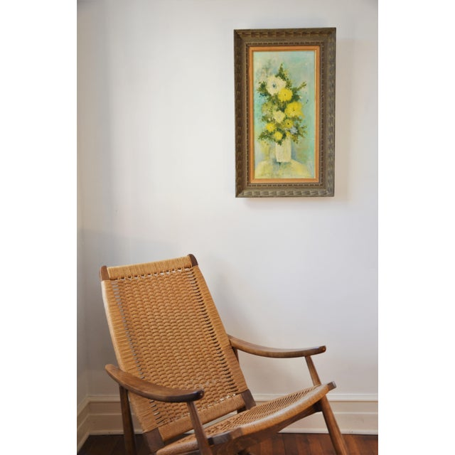 """Vintage original framed Mid-Century flower painting on canvas titled """"White Vase"""" by Author, Gardener, and Artist Emily..."""