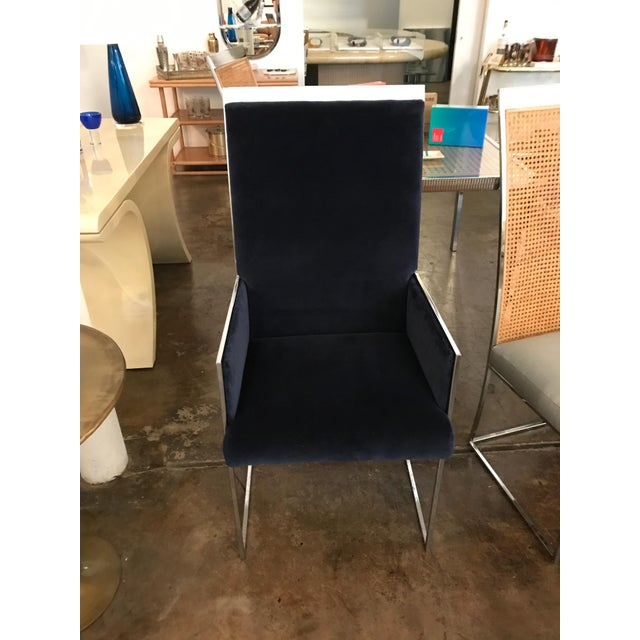 Mid Century Modern S/ 8 Milo Baughman Newly Upholstered Chrome & Cane Back Dining Chairs - Image 8 of 10