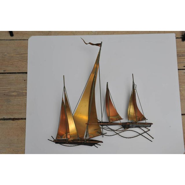 Curtis Jere Signed Curtis Jere` Brutalist Period Sailboat Wall Sculpture, 1969 For Sale - Image 4 of 6