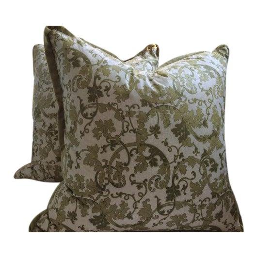 Gp & J Baker Pillow Covers in English Chintz Vine & Velvet - a Pair - Image 1 of 4
