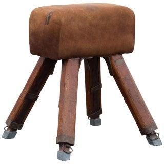 Vintage Niels Larsen & Sons Suede Pommel Horse Stool For Sale