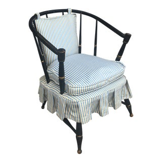 Vintage Black Spindleback Barrel Chair For Sale