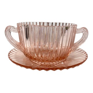 Queen Mary Pink Depression Glass Sugar For Sale