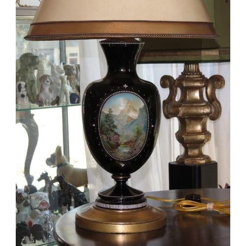 Antique Moser Hand-Painted Glass Vase Lamp - Image 4 of 5
