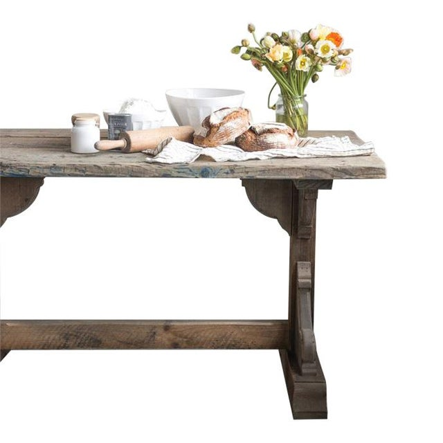 Brown French Rectory Wooden Table For Sale - Image 8 of 8