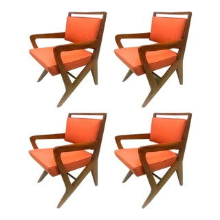 Maison Raphael Rarest Set of Four Armchairs, Fully Restored and Newly Covered For Sale