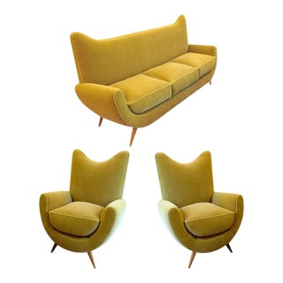 """Jean Royere Documented Salon Model """"Ambassador"""" Couch and Two Chairs For Sale"""