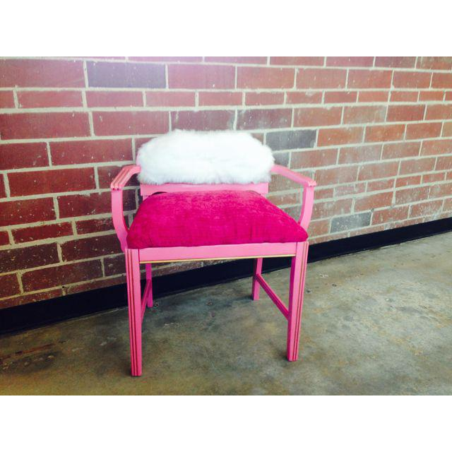 Paint 1950s Vintage Art Deco Hot Pink Vanity Chair For Sale - Image 7 of 8