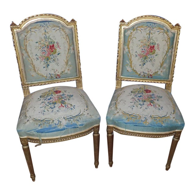 Mid 19th Century Louis XVI Petit Point Embroidered Chairs- A Pair For Sale