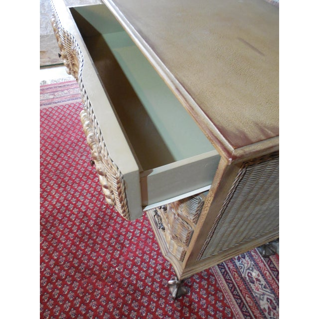 Block Front Chippendale Style Claw Footed Paint Distressed Shabby Chic Chest - Image 5 of 8