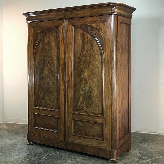 19th Century French Louis Philippe Period Burl Mahogany Armoire For Sale - Image 4 of 12