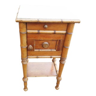 Faux Bamboo Marble Top Nightstand, 19th Century For Sale