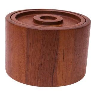 Danish Modern Round Staved Teak Ice Bucket by Jens Quistgaard for Dansk For Sale